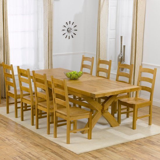 8 Seater Dining Table And Chairs: Avignon Oak Extending Dining Table And 8 Hannover Timber
