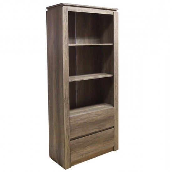 Caister Wooden Bookcase In Oak With 2 Drawers And Shelves