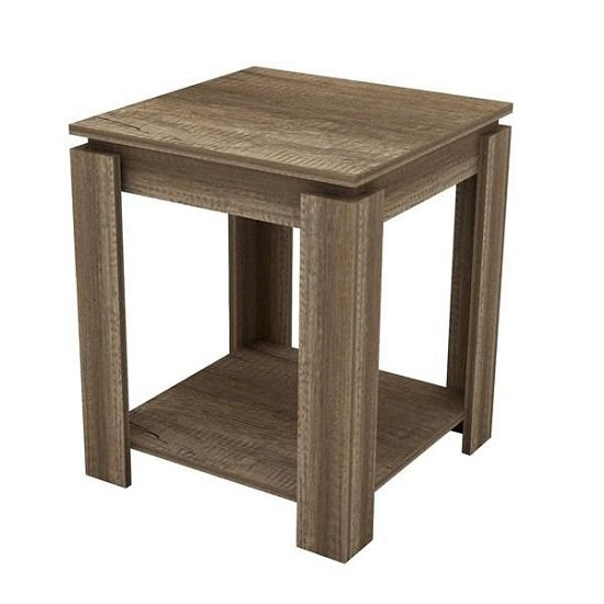 Caister Wooden Lamp Table Sqaure In Oak With Undershelf_1