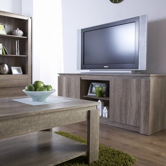 Caister Wooden LCD TV Stand In Oak With 2 Doors_2