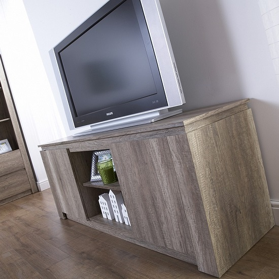 Caister Wooden LCD TV Stand In Oak With 2 Doors_3