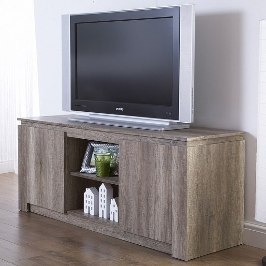 Caister Wooden LCD TV Stand In Oak With 2 Doors