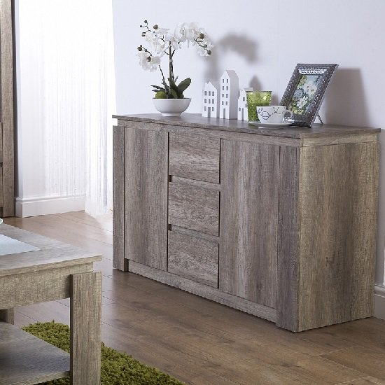 Caister Wooden Sideboard In Oak With 2 Doors And 3 Drawers_1