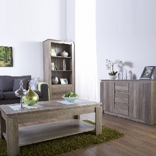 Caister Wooden Sideboard In Oak With 2 Doors And 3 Drawers_2