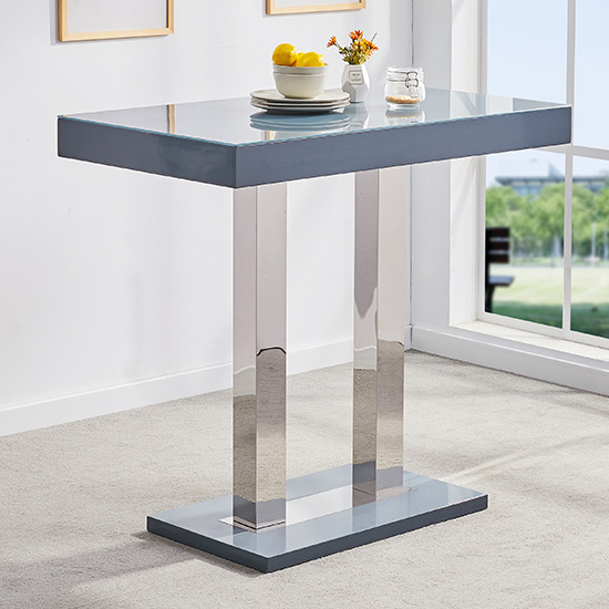 Caprice Glass Bar Table In Grey Gloss With 4 Ripple Stools_2