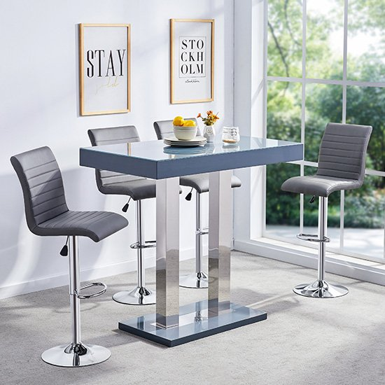 Caprice Glass Bar Table In Grey Gloss With 4 Ripple Stools_1