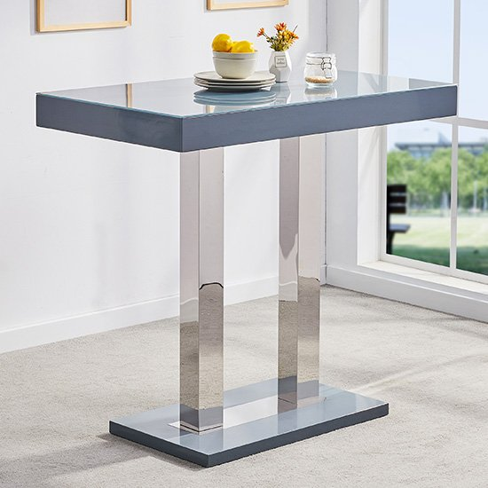 Caprice Glass Bar Table In Grey Gloss With 4 Ritz Stools_2