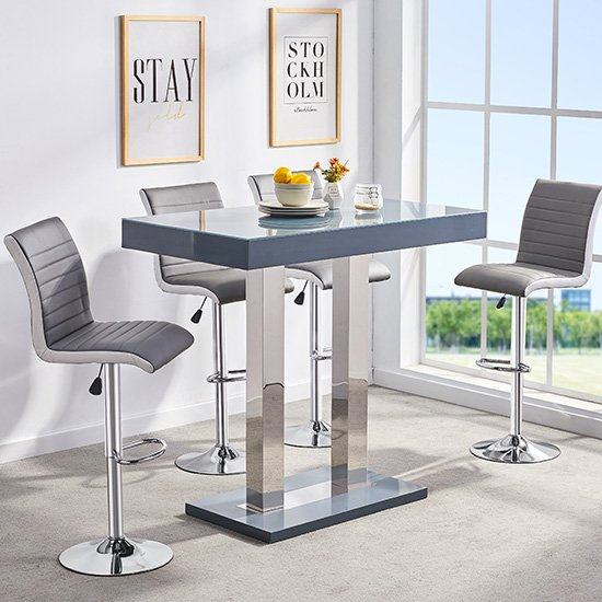 Caprice Glass Bar Table In Grey Gloss With 4 Ritz Stools_1