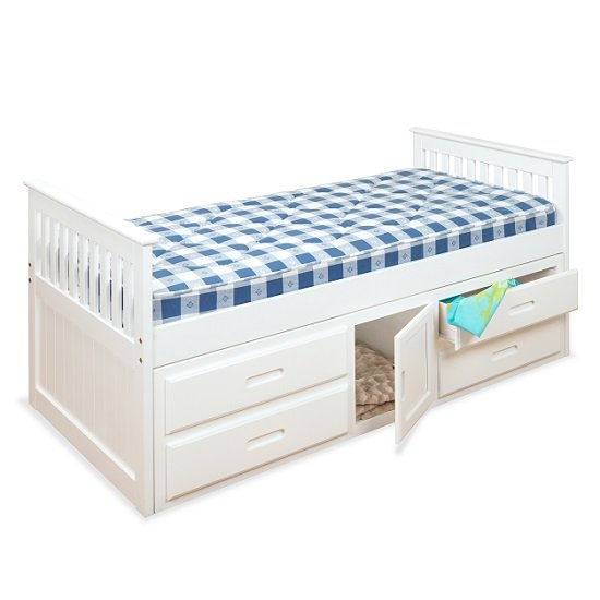Read more about Captains storage bed in white with 4 drawers and 1 door