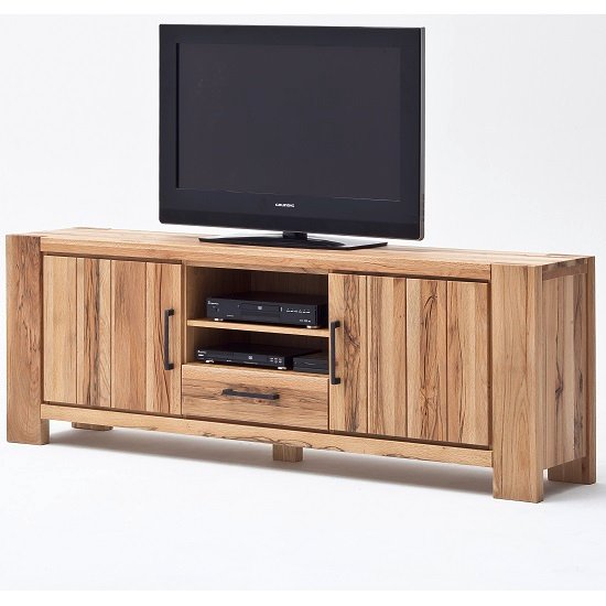 Sussex TV Stand Solid Wild Oak With Drawer