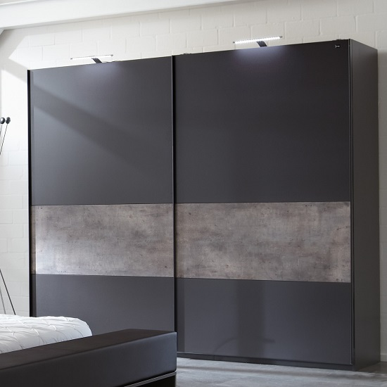 Clovis Sliding Wardrobe Large In Lava And Concrete With 2 Door