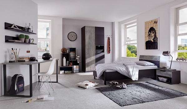 Clovis bedside cabinet in lave front carcase and concrete - Chambre pour jeune adulte ...