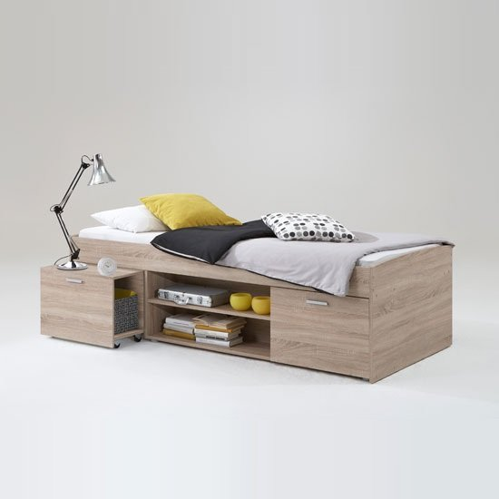 Karly Bed In Canadian Oak With Storage And PullOut Bedside Table
