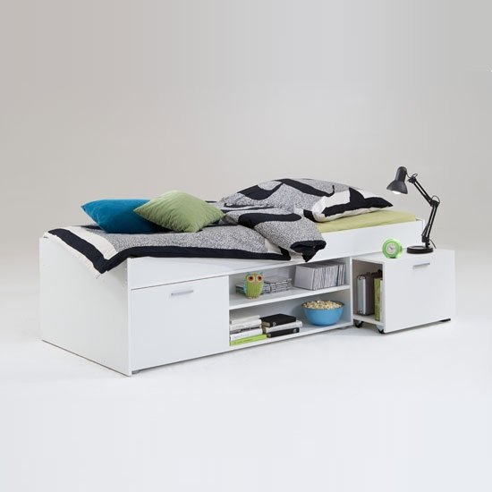 Karly Bed In White With Storage And Pull Out Bedside Table