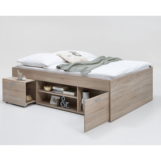 Karly Double Bed In Canadian Oak With Extendable Bedside Table