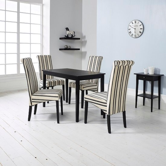 Carmel Wooden Dining Table In Matt Black And 4 Cream Chairs_1