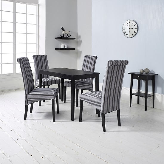 Black Bench For Dining Table: Carmel Wooden Dining Table In Matt Black And 4 Grey Chairs