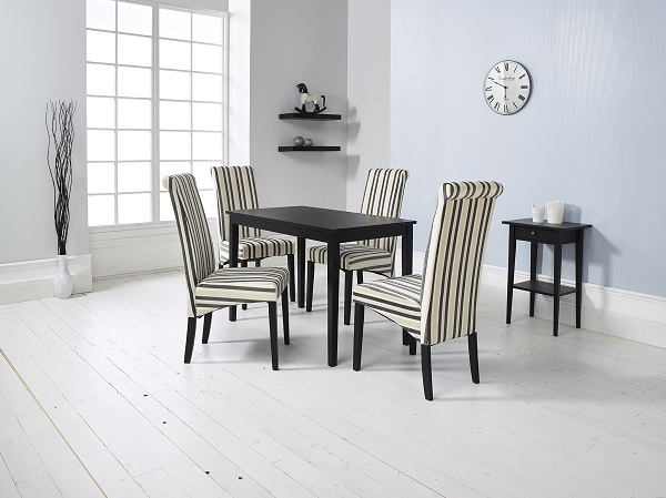 Carmel Wooden Dining Table In Matt Black And 4 Cream Chairs_4