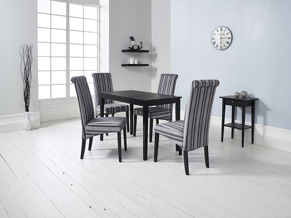 Carmel Wooden Dining Table In Matt Black And 4 Grey Chairs_4