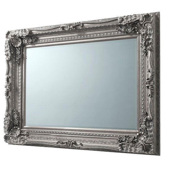 Louisa Rectangular Wall Mirror In Silver With Baroque Style_2