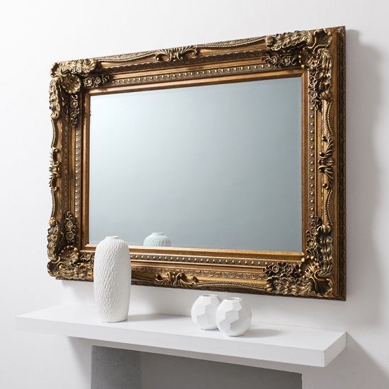 Louisa Baroque Style Wall Mirror Rectangular In Gold_2