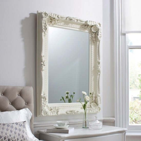 Louisa Baroque Style Wall Mirror In Matt Cream