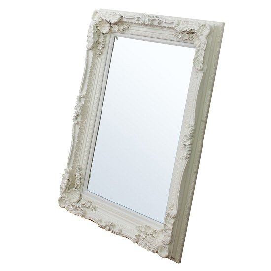 louisa baroque style wall mirror in matt cream 26942