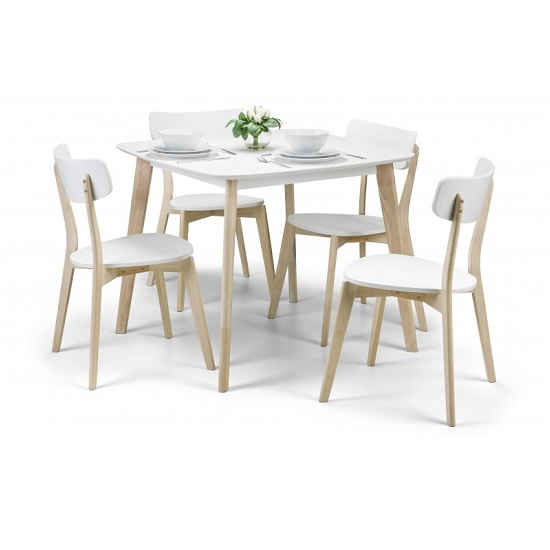 Bramley Dining Table Square In White With 4 Dining Chairs_1