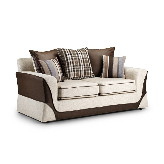 Bentley 2 Seater Sofa In Beige And Brown Fabric With Black Feet