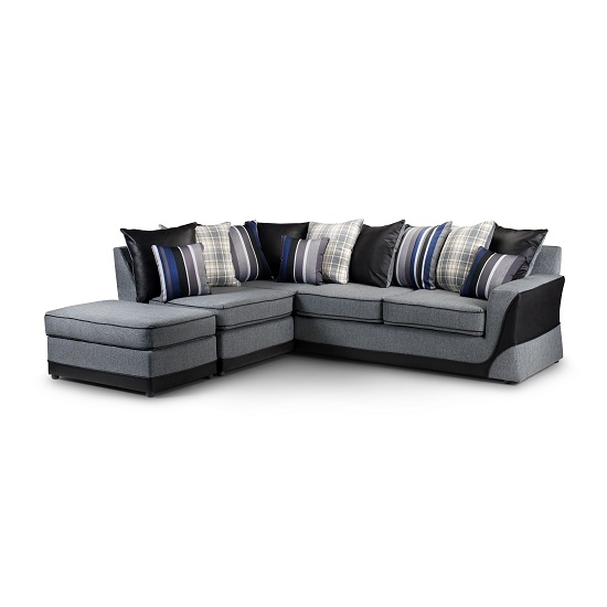 Bentley Reversible Corner Sofa In Grey Fabric With Black Feet