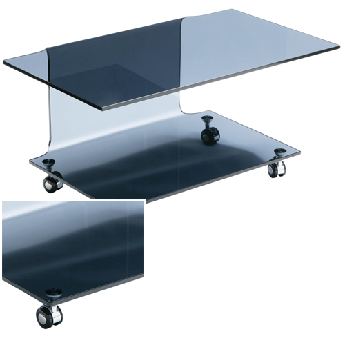 Cascade Bent Glass TV Stand In Grey With Wheels