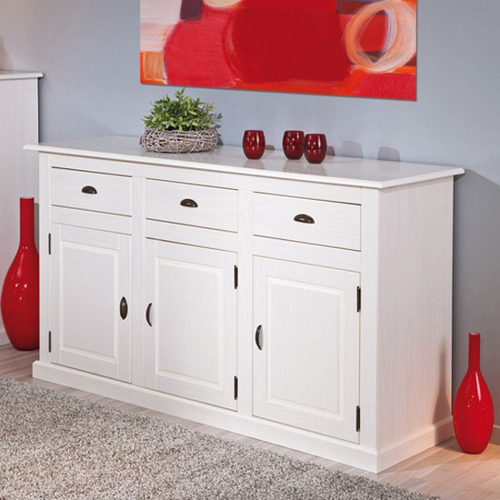 Cassala3 White Wooden SideBoard With 3 Drawers And 3 Door