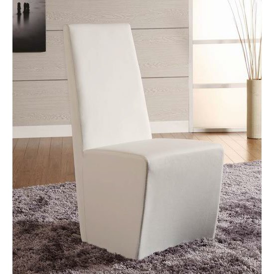 2 x Fredo White Faux Leather Dining Chair