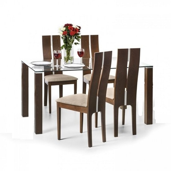 Everton Glass Dining Table In Clear And Walnut With 4 Chairs_1