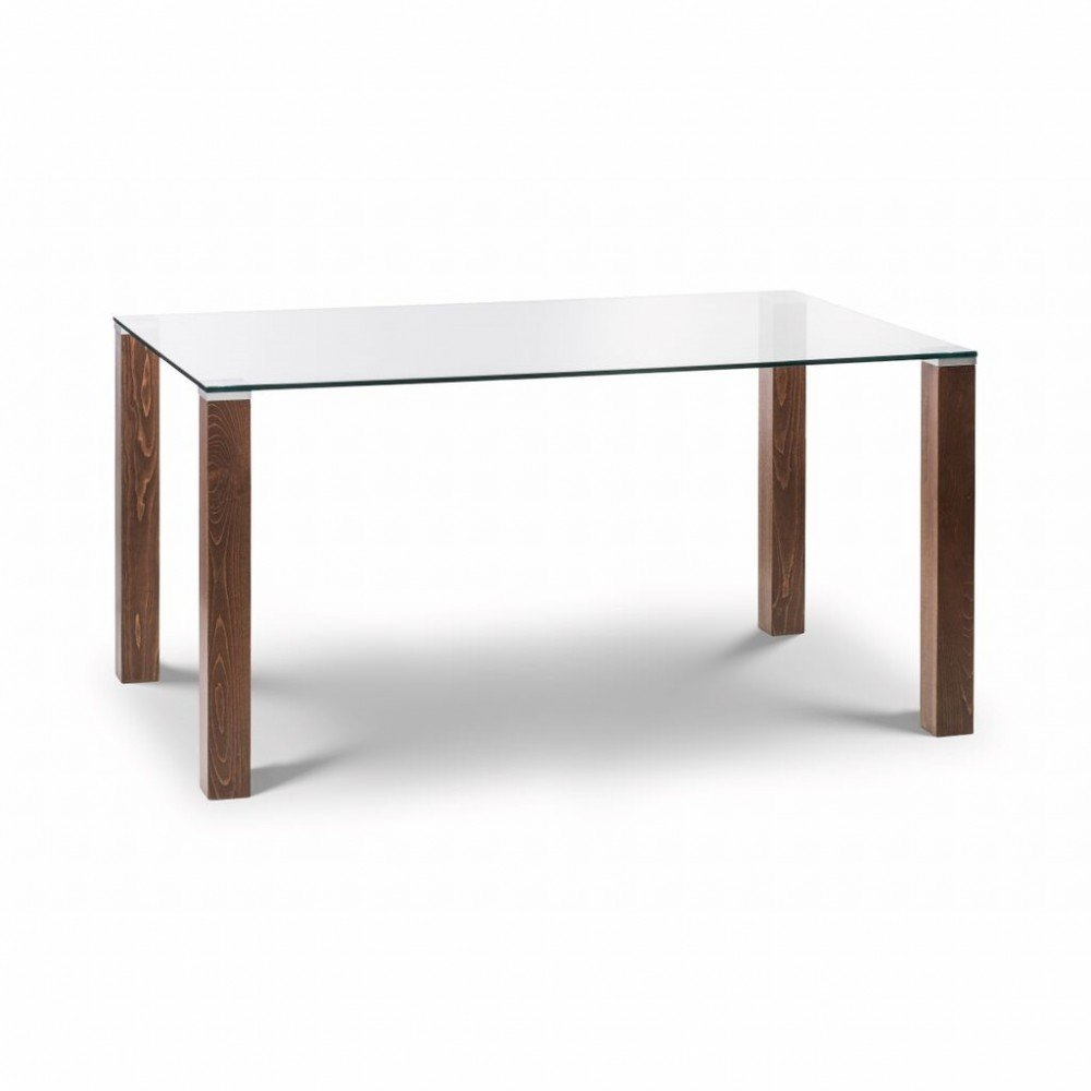 Everton Glass Dining Table In Clear And Walnut With 6 Chairs_2