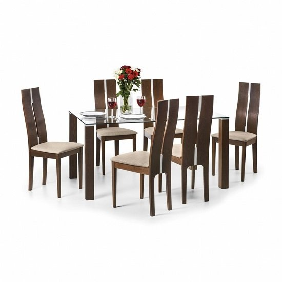 Everton Glass Dining Table In Clear And Walnut With 6 Chairs