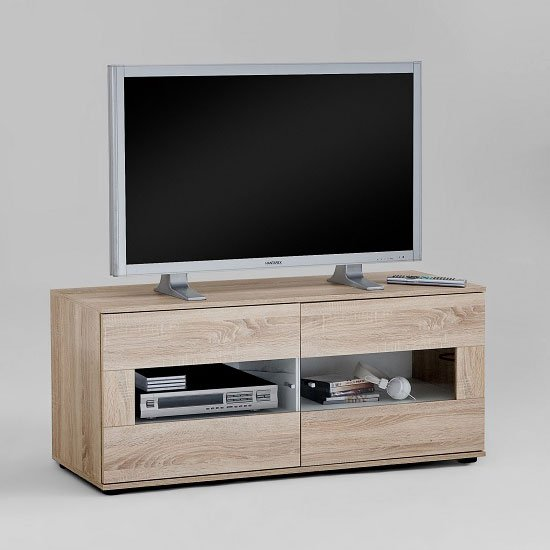 Center Wooden Plasma TV Stand in Oak And White With Two Doors