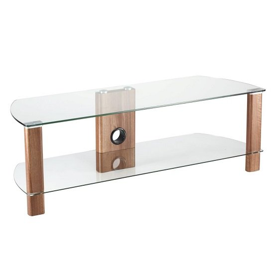 Sligo Glass LCD TV Stand In Clear And Walnut With Undershelf