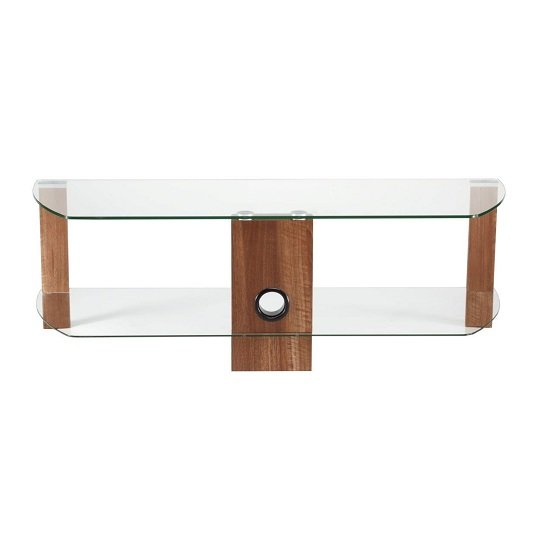 Sligo Glass LCD TV Stand In Clear And Walnut With Undershelf_2