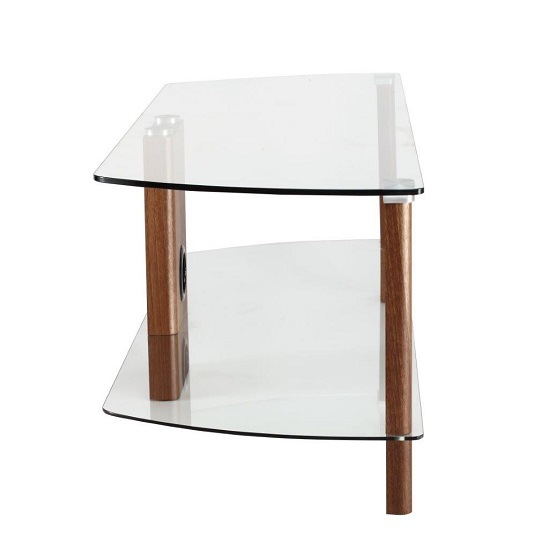 Sligo Glass LCD TV Stand In Clear And Walnut With Undershelf_4