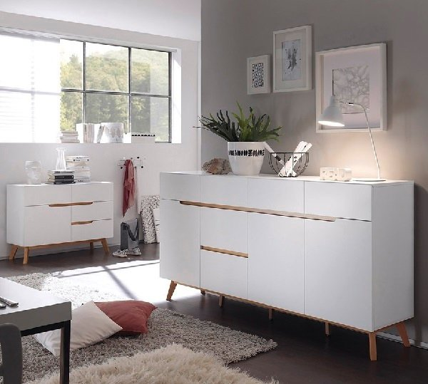 Merina Modern Sideboard In Matt White And Oak With 3 Doors_6