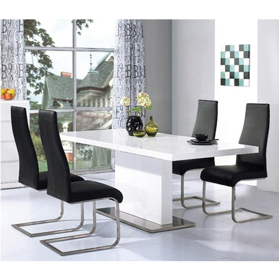 Chaffee High Gloss Dining Table Set