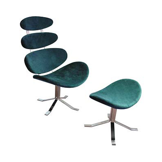 Revolving Microfibre Chair and Footstool in Teal