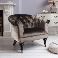 Dovern Sofa Chair In Mocha Velvet With Wooden Legs And Castors