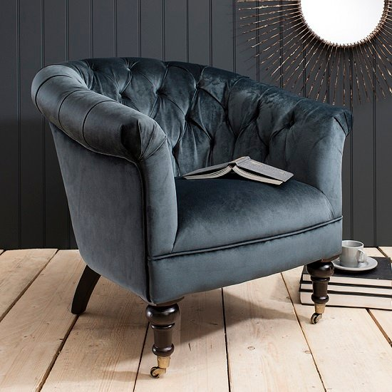 Dovern 1 Seater Sofa In Teal Velvet With Wooden Legs And Castors