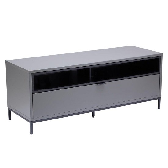 Nelson TV Cabinet Small In Matt Charcoal Grey And Black