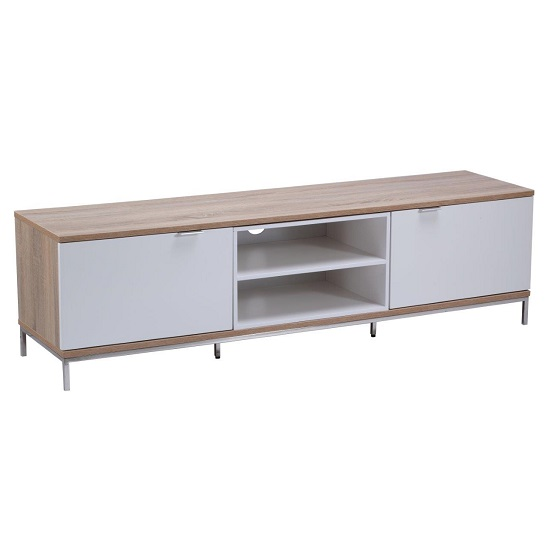 Nelson Wooden TV Cabinet Medium In White And Light Oak