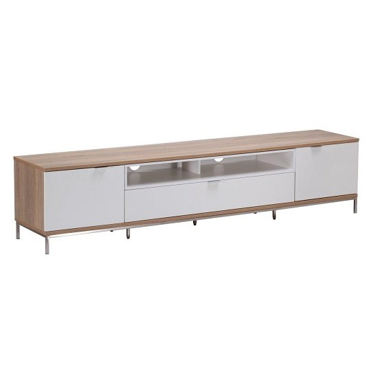 Nelson Wooden TV Cabinet Large In White And Light Oak_7