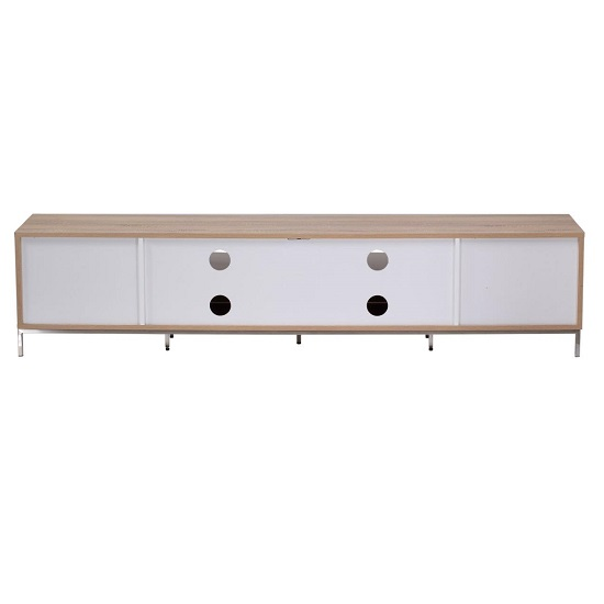 Nelson Wooden TV Cabinet Large In White And Light Oak_2