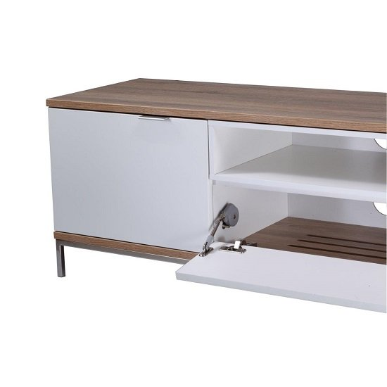 Nelson Wooden TV Cabinet Large In White And Light Oak_3